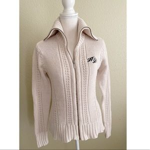 Harley-Davidson Shimmery Cotton Knit Sweater in Cream Small